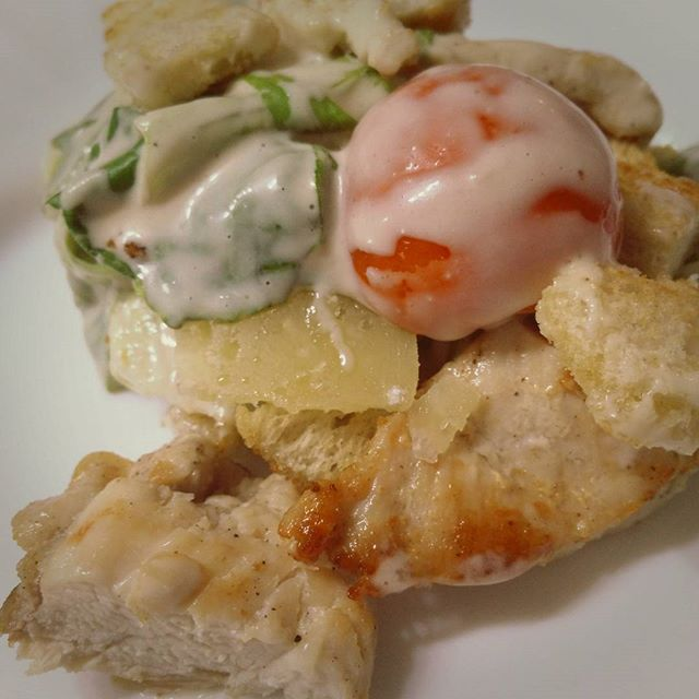 Home made #cezarsalad, the perfect ending for another day. Visit my website at http://www.foodstuff.guru
